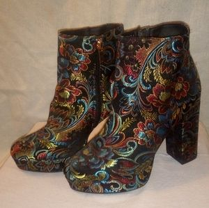 Bamboo Block Heel Print Ankle Boots